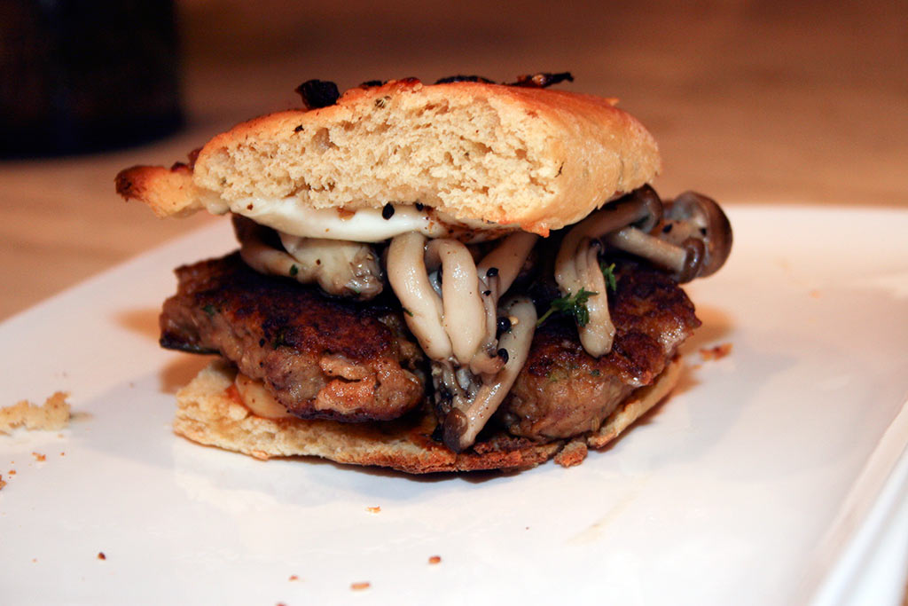 Meatball Sandwich with Sautéed Beech Mushrooms