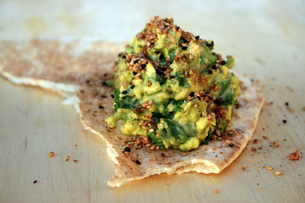 Lemon Avocado with Dukkah on Pita Bread