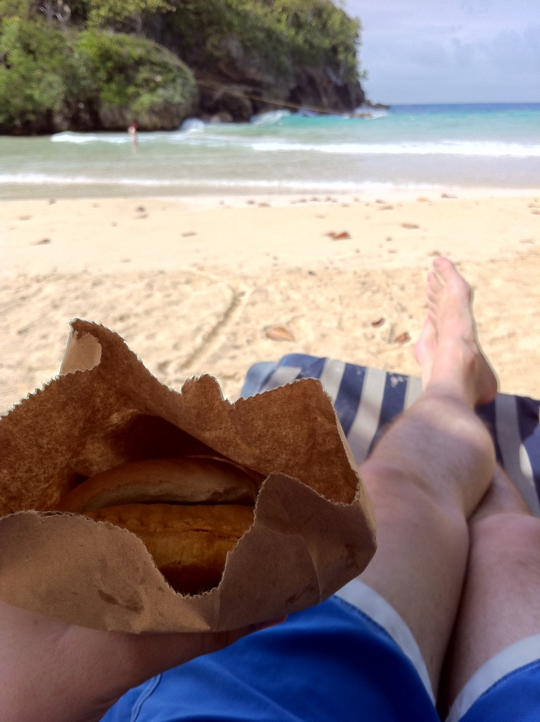 Juici Patty With Coco Bread - Served in fashionable brown paper bag