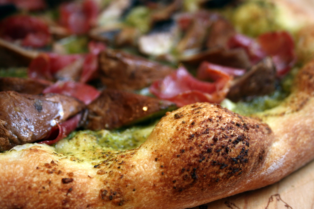Prosciutto Pizza with Pesto and Portobella Mushrooms